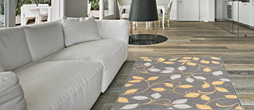 Maxy Home Hamam Collection Gummi Rückseite Floral1Bereich Teppiche, Synthetisch, Grey, Ivory, 18