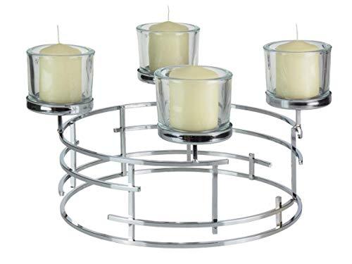OUM-SET Formano Adventskranz Metall Silber 40cm mit 4 Gläsern und 4 Kerzen Kerzenhalter Advent Kerzenständer modern