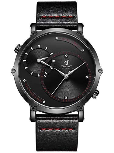 Alienwork Reloj Hombre Relojes Piel de Vaca Negro Analógicos Cuarzo Impermeable XXL Oversized