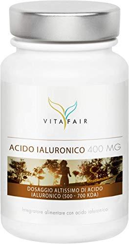 Acido Ialuronico - 400mg per Porzione - 120 Capsule - Dimensione molecolare 500-700 kDa - Anti-invecchiamento - Ad Alto Dosaggio - Vegano - Senza Sali di Magnesio - Made in Germany