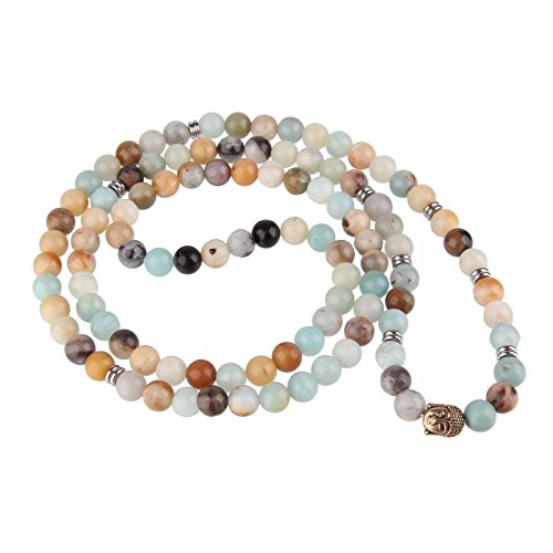 Beauty7 Bracelet Multi-Tours Collier Mala 108 Perles Bouddhistes 8mm Perles en Amazonite Chapelet Bouddhiste Tete de Bouddha Unisexe