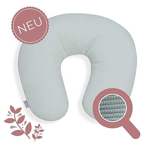 Stillkissen klein Mint Waffelpique Musselin ATMUNGSAKTIV und GERÄUSCHLOS 100% Baumwolle - formstabil - modernes Design - mit praller Polyesterwatte PREMIUM - Waschbarer Bezug & Wattefüllung
