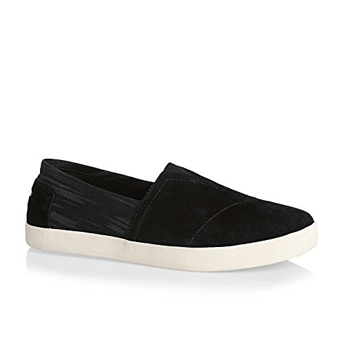 TOMS Men's Avalon Slip-On Black Suede/Washed Textile Sneaker 8 D (M)