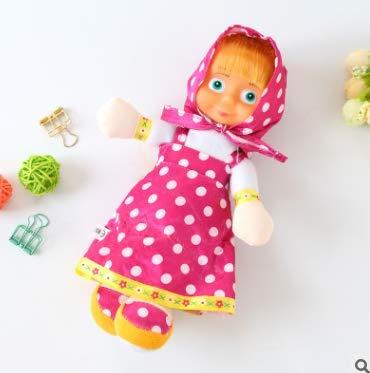 LANDUM Russische Mascha und Bär Pet Plüschtier Hot Cute Sprechen Reden Sprachnotiz Hamster Pädagogisches Spielzeug für Kinder Geschenk Hot Pink (Polka Dot Rock) 22 cm