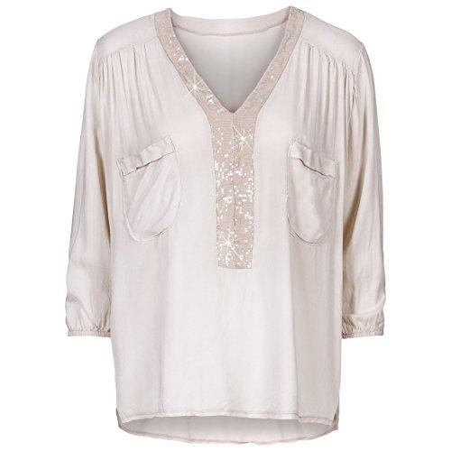 Shinekoo Damen 3/4 ?rmel V-Ausschnitt Pailletten Bluse Doppelte Taschen Freizeithemd Shirt Tops Beige