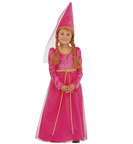 Amakando Burgfräulein Kostüm Mädchenkostüm 116 4-5 Jahre Mitelalterkleid Kind Burgdame Kinderkostüm Hofdame Kinderfasching Faschingskostüme Kinder