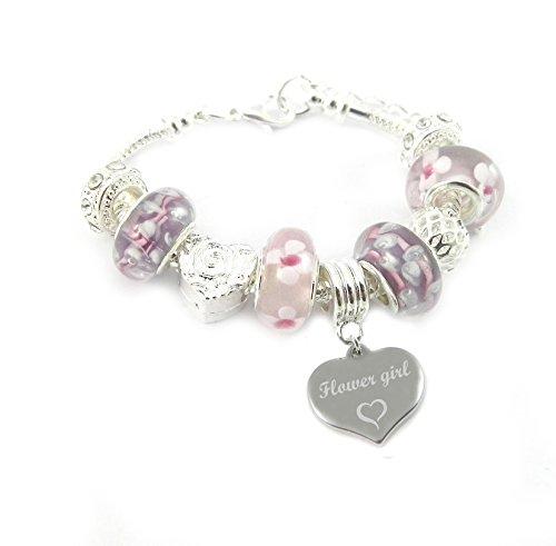 Armband, Mädchen, Blumenmädchen, personalisierbare Gravur, Pink- & Lilafarbene Charms