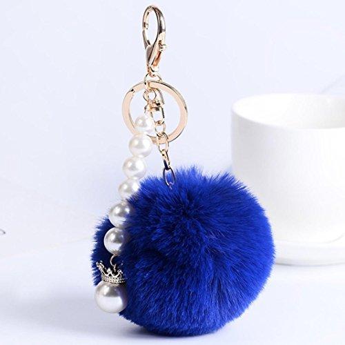 artistic9(TM) Damen Schlüsselanhänger Fell Ball Plüsch Handy Auto Handtasche Anhänger Schlüsselanhänger, blau, Pearl (Handy-charme-pelz-ball)