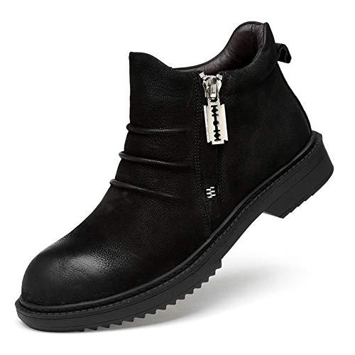 ailishabroy Hommes Occasionnels Bottines Glissent Sur des Chaussures Zippées Hauts Oxfords Pour Les Hommes (Schwarz-warm 43EU) Wellington Magnum