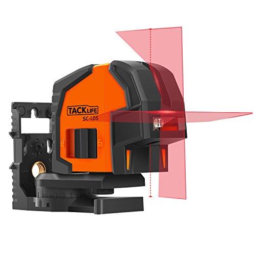 Livella Laser, Tacklife SC- L05 Metro Laser Classica di 30m e Funzione di Inclinazione, Due Punti laser Verticali, Rotazione a 360 Gradi, con una Lamiera e un Supporto Magnetico Rotante