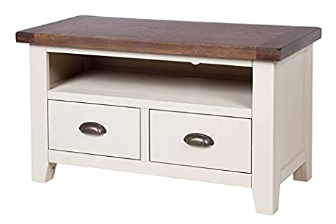 Woodbury Dove Grey Painted Chunky Rustic Dark Oak Small Widescreen LCD Plasma Tv Cabinet , Dark Oak / Dove Painted Base, H 55 x W 90 x D 44 cm