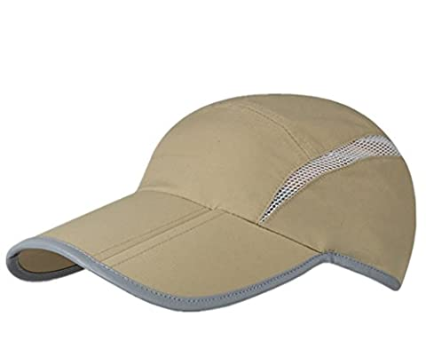 GADIEMKENSD Quick Dry Sports Hat Lightweight Breathable Soft Outdoor Run Cap (Folding series, Khaki)