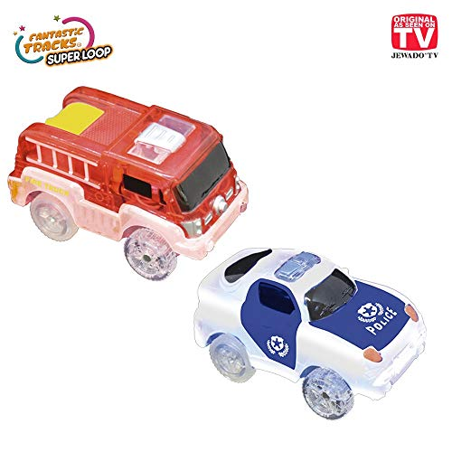 Fantastic Tracks® Rennbahn Ersatz Auto Set 2 Stück Feuerwehr + Polizei-Auto - Original aus TV -