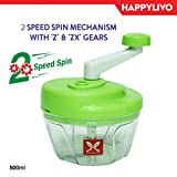 #6: HappyLivo VERDU Vegetable Mini Chopper with 2 Speed Spin mechanism | Large 500ml bowl capacity | Powerful TriSwift Blades | Slice mince chop or blend Vegetable Fruits Nuts Onions Salads | BPA free food grade material | Chop fast Grind faster | 6 months warranty