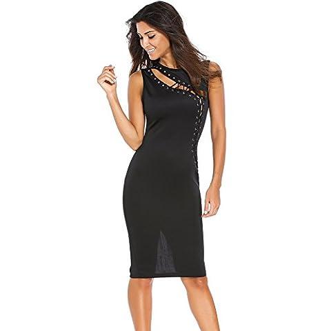 WJS-Vêtements pour dames mince robe couture hollow bandage jupe asymétrique,black,m