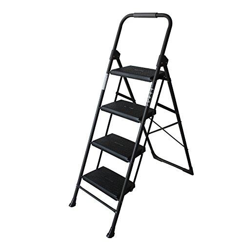 KFDQ Deutsches Leiterhaus, Das Zwei Oder Dreistufige Leiter Faltet, Die Leiter-Heringbone-Leiterinnenleiter Der Kleinen Leiter des Kleinen Leiteraufstiegs Vier Steigen,Schwarz,Vier Stufenleit