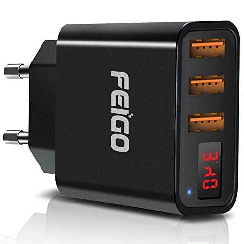 FEIGO Quick Charger USB Ladegerät mit LED Digitaler Anzeige 3 Port Ladeadapter 5V 2.4A Reiseladegerät Wandladegerät Stecker für iPhone X/8/8 Plus, Samsung Galaxy S9/S9 Plus/S8, iPad, HTC (Schwarz)