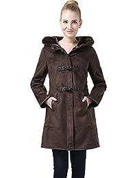 "BGSD Women's ""Jeanette"" Faux Shearling Hooded Duffle Toggle Coat"