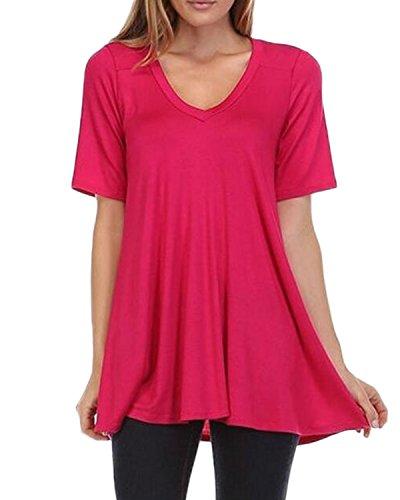 Auxo 7 Couleurs Femme Eté Grand Taille Manches Courtes Irrégulière Sexy Col V T-shirt Hauts Tops S-XL Rose