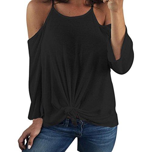 Manches Femmes Sexy Hors épaule Manche longue Chemise sans dossier Blouse Casual Tops Noir