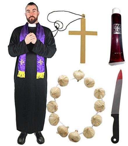 Kostüm Jäger Vampir Halloween (VAMPIER JÄGER KOSTÜM MIT DEM ZUBEHÖR VON //ENEM BLUTIGEN MESSER//EINER TUBE KÜNSTLICHEM BLUT//EINEN GROSSEN KREUZ ZUM UMHÄNGEN//UND EINER KNOBLAUCH KETTE= IN DER GRÖSSE ( XXL -)