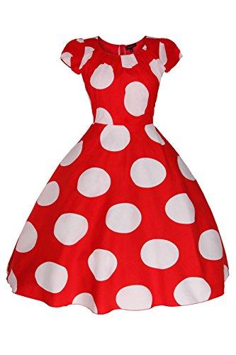 Damen 1950er Retro Vintage 40er Flügelärmel Swing Party Nachmittagskleid in Übergröße Rot