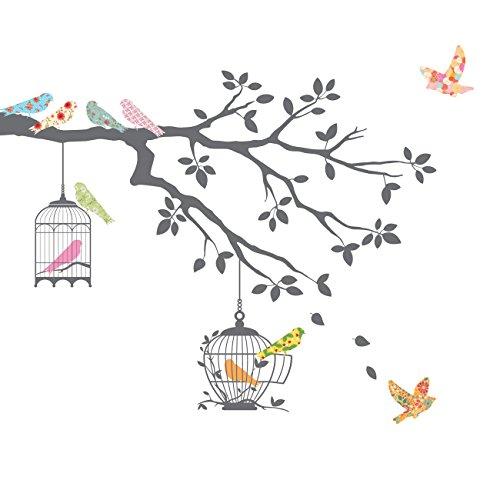 DECOWALL DW-1510 Uccelli sui Rami degli Alberi con Gabbie per Uccelli Adesivi da Parete Decorazioni Parete Stickers Murali Soggiorno Asilo Nido Camera da Letto per Bambini (Grigio)