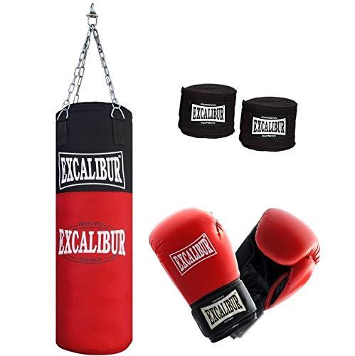 Jugend Boxsack Excalibur Allround - Handgefertigt Aus Extrem Robusten, Hochwertigen Nylon - Inklusive Kettenaufhängung, Drehwirbel Und Stabiler Aufhängung, 80cm - Verschiedene Sets (8 Oz)