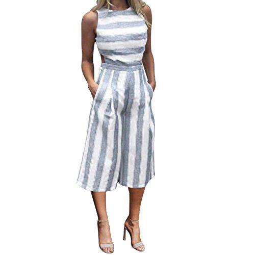 SUCES Jumpsuit Damen Elegant Sommer Hosenanzug Overall Romper Frauen Gestreifter Overalls Ärmellose Playsuit Overall Zufälliger Clubwear Wide Leg Pants Outfit Spielanzug Hosenanzug (M, Blue) (Leg Lace Garter Satin)