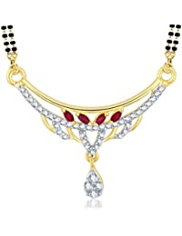 Sukkhi Royal Gold And Rhodium Plated Cubic Zirconia And Ruby Stone Studded Mangalsutra Pendant For Women