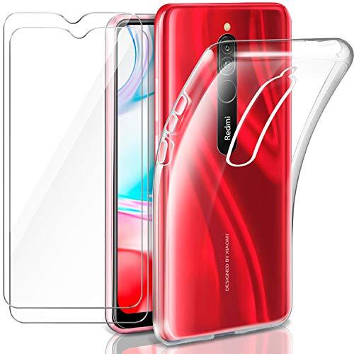Leathlux Funda Xiaomi Redmi 8 + 2 x Protector de Pantalla Xiaomi Redmi 8, Transparente TPU Silicona Funda + Cristal Vidrio Templado Protector de Pantalla y Carcasas Xiaomi Redmi 8