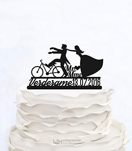 Herr und Frau Cake Topper_Wedding Cake Topper mit Nachnamen und Datum_Custom Cake Topper mit Bicycle_Bride und Br?utigam On Bike Silhouette (Personalisierte Wedding Party Geschenke)
