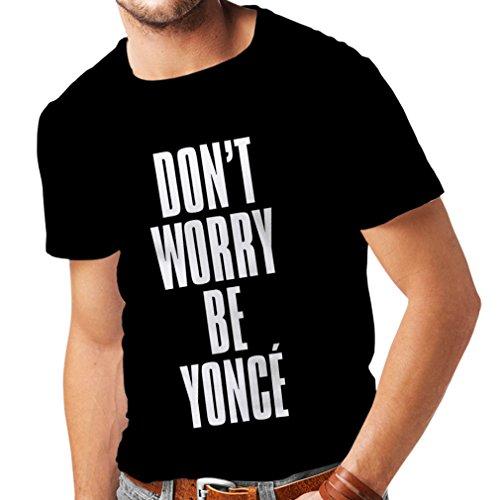 lepni.me Männer T-Shirt Machen Sie Sich Keine Sorgen Seien Sie Sich selbst Zitate, berühmte Positive Sprüche (Large Schwarz Weiß) -