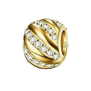 J.Endéar Charms Bead 925 Sterling Silber Daman Anhänger passt Pandora Armband Halskette Funkelnden Zirkonia mit Geschenk Box