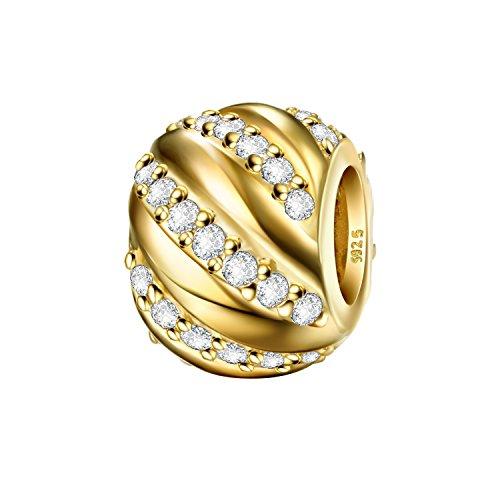 J.Endéar Charms Bead 925 Sterling Silber Daman Anhänger passt Pandora Armband Halskette Funkelnden Zirkonia mit Geschenk Box (Stern Charm Für Pandora Armband)