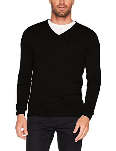 TOM TAILOR Herren Pullover Basic v-Neck Sweater, Schwarz (Black 2999), Medium