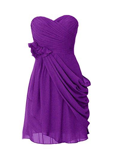Dresstells, robe courte de demoiselle d'honneur mousseline avec fleurs Pourpre