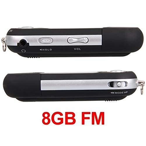 Ecloud Shop® Mini Reproductor MP3 Negro 8GB FM Radio Grabadora De Voz Mic USB Flash Drive