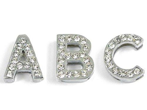 Buchstaben für Armband - Verchromt mit Strass - Für Bandbreite 1,0cm (Verchromt Schieben)
