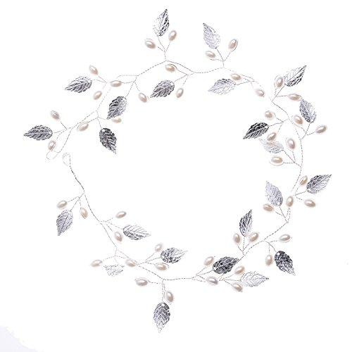 Oshide Weiß Perlengirlande Blatt Haar Accessoires, Braut Hochzeit Haarschmuck Brautschmuck(Silber)
