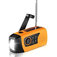 Emergencia Solar Manivela, Unionshopping Self Powered FM Weather Radio, 1W LED Flashlight, Weather Radio Built-in 2000mAh Power Bank, USB Port and Micro Cables (Amarillo)