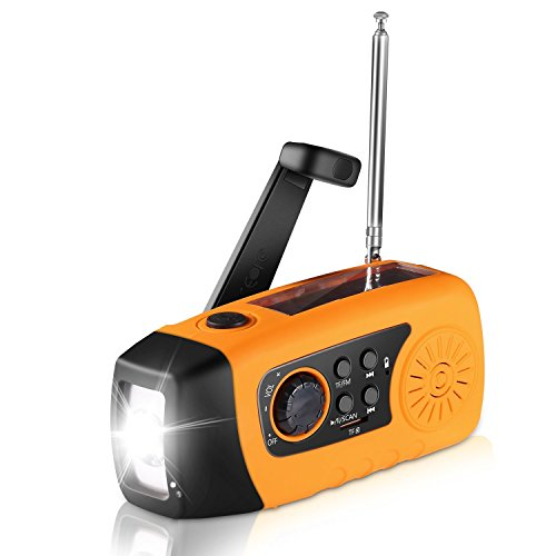 Solar radio, unionshopping draagbare Solar noodgevallen-hand-zwengel Self powered FM Radio met [2000 mAh] USB-energie-bank, LED-zaklamp, MP3-TF-kaart ondersteuning voor Outdoor-Camping-wandelen (Orange)