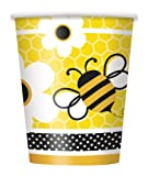 Fleißige Bienchen-Partybecher mit schwirrenden Bienen und Blumenmotiv, 8er Pack