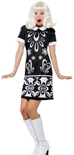 erdbeerloft - Damen Minikleid im 60er Jahre - sixty Style, schwarz-weiß, 40, (60er Style Dance Kostüme)
