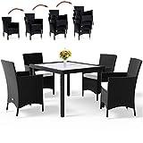 Deuba Poly Rattan Sitzgruppe 4+1 Schwarz | 4 stapelbare Stühle | 7cm dicke Sitzauflagen creme | wetterfestes Polyrattan [ Modell- & Farbauswahl 4+1 / 6+1 / 8+1 ] - Gartenmöbel Gartenset Lounge Sitzgarnitur Essgruppe Set