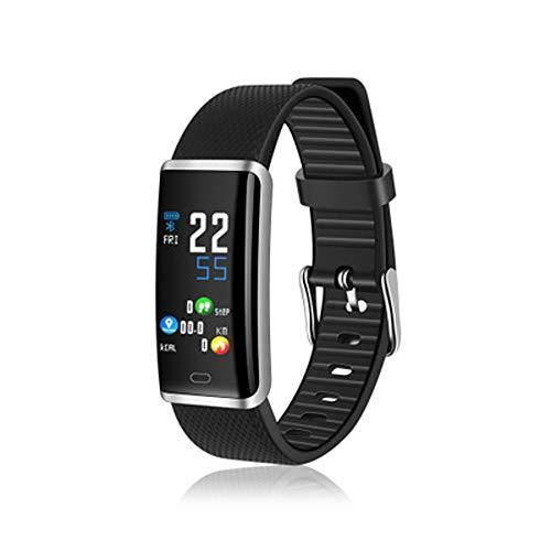 YWY Smart Watch mit Blutdruckmessgerät Pulsmesser Schlaf-Monitor Bluetooth Kalorien-Schrittzähler Sitzende Erinnerung Fitness Tracker Watch (Farbe : Silber)