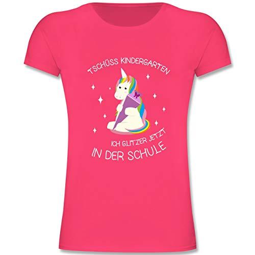 Einschulung und Schulanfang - Einschulung Einhorn Tschüss Kindergarten - 128 (7-8 Jahre) - Fuchsia - F131K - Mädchen Kinder T-Shirt (Zurück Schule Zur Kleidung,)