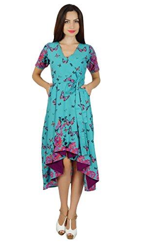 Bimba robe fourreau asymétrique poches papillon en coton robes midi classiques Bleu