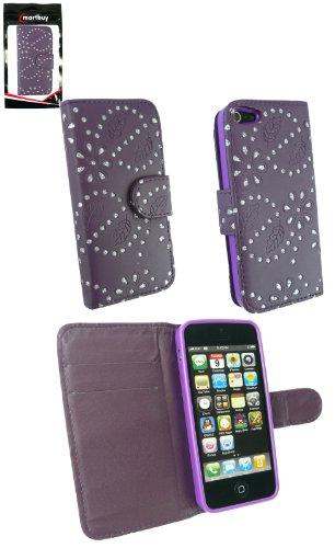 Emartbuy® Apple Iphone 5 5S Diamante Porte-Monnaie Pourpre Avec Des Fentes De Cartes De Crédit Et Protecteur D'Écran Lcd Cas / Étui / Housse / Poche