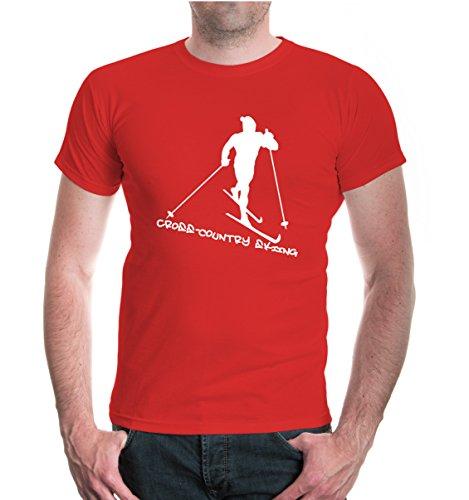buXsbaum® T-Shirt Cross Country Skiing Red-White